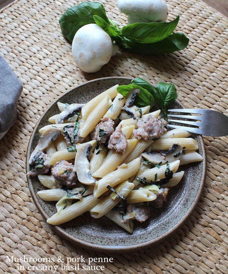 Mushroom & pork penne in creamy basil sauce