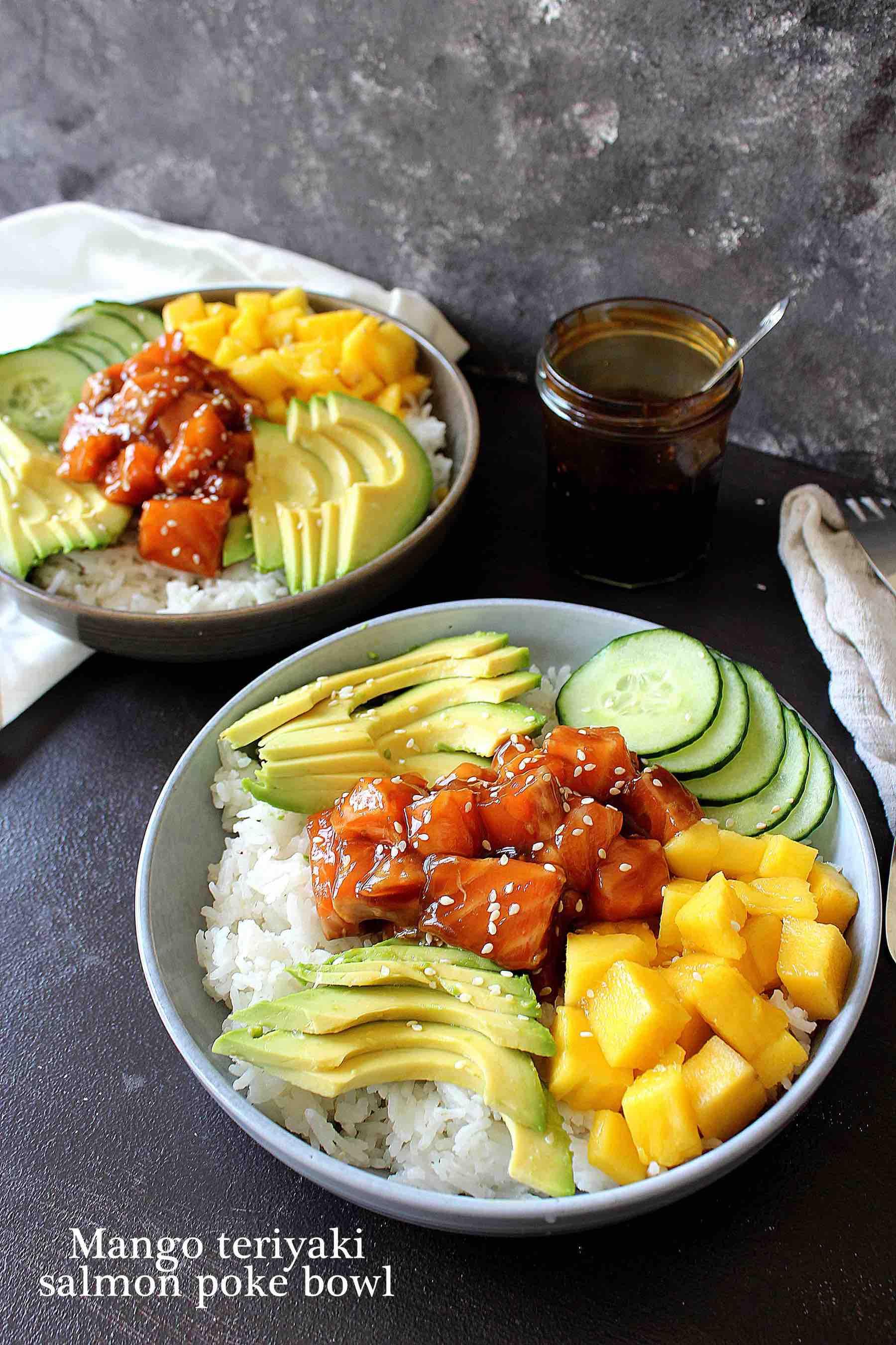 Mango teriyaki salmon poke bowl