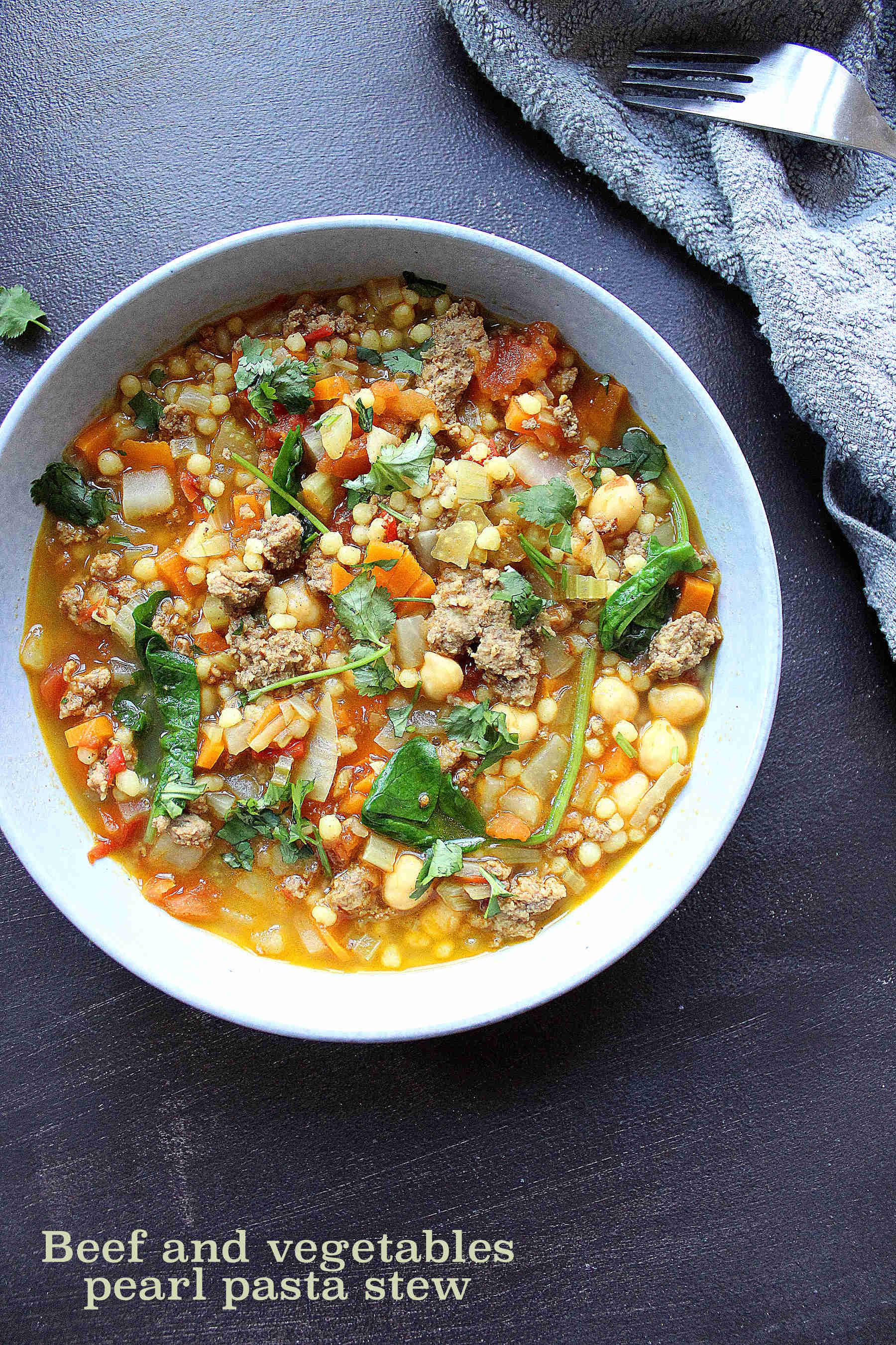 Berkoukes aux boeuf haché et légumes
