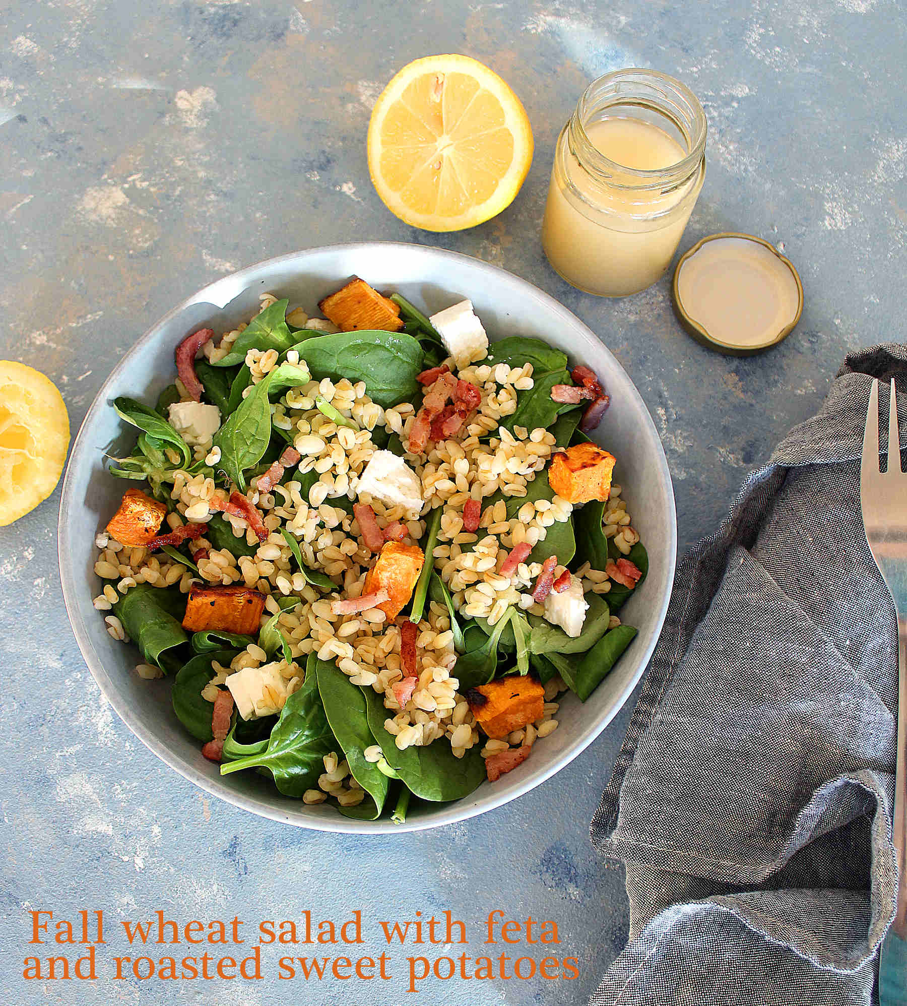 Fall wheat salad with feta cheese and roasted sweet potatoes