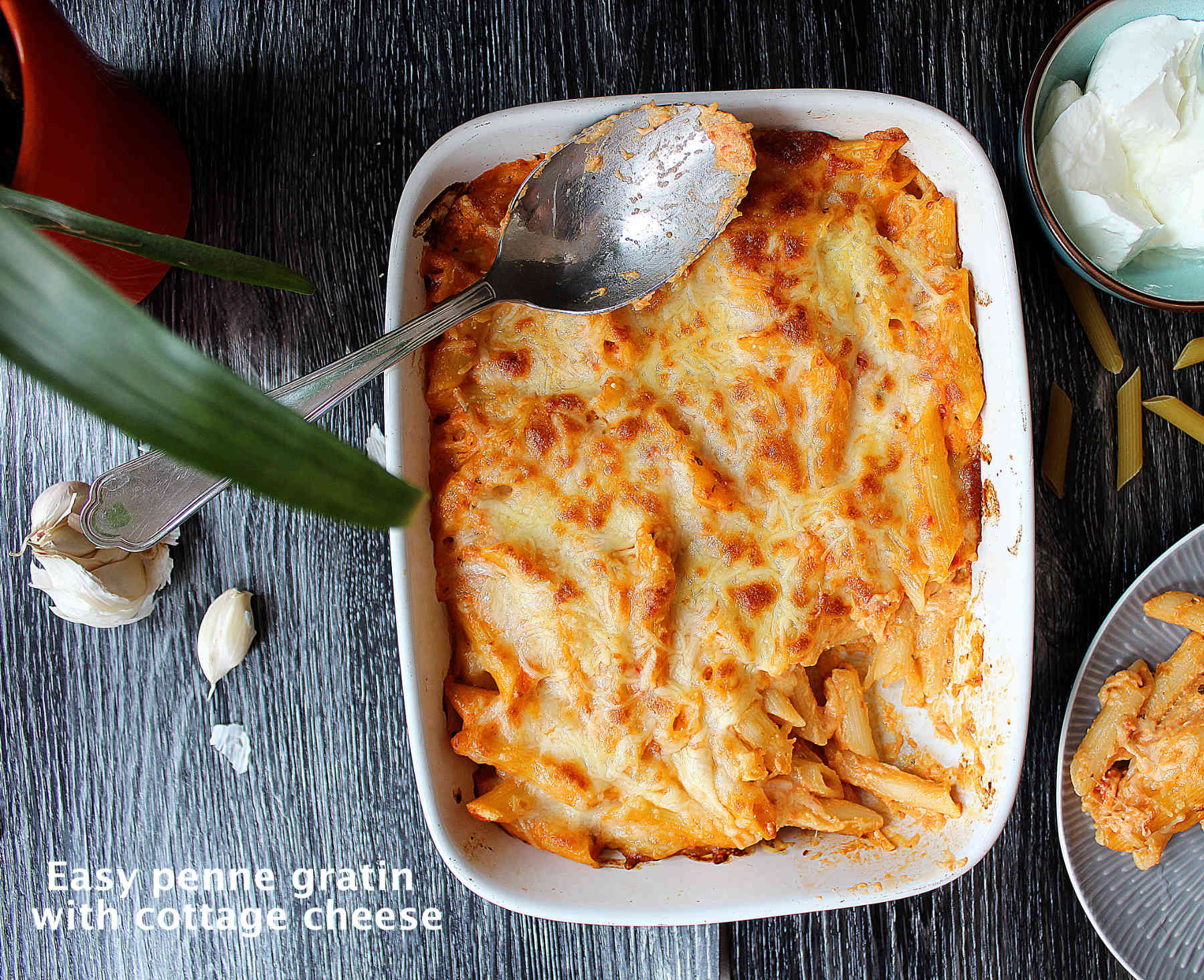 Easy creamy penne gratin with cottage cheese