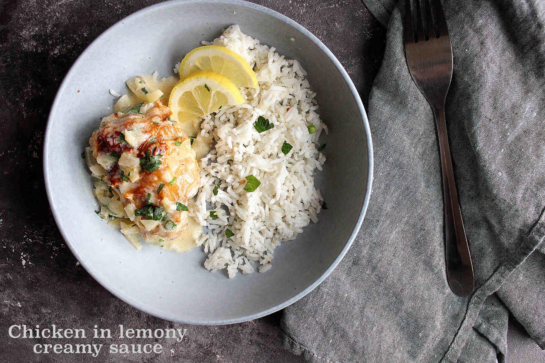 Chicken in lemony + creamy sauce