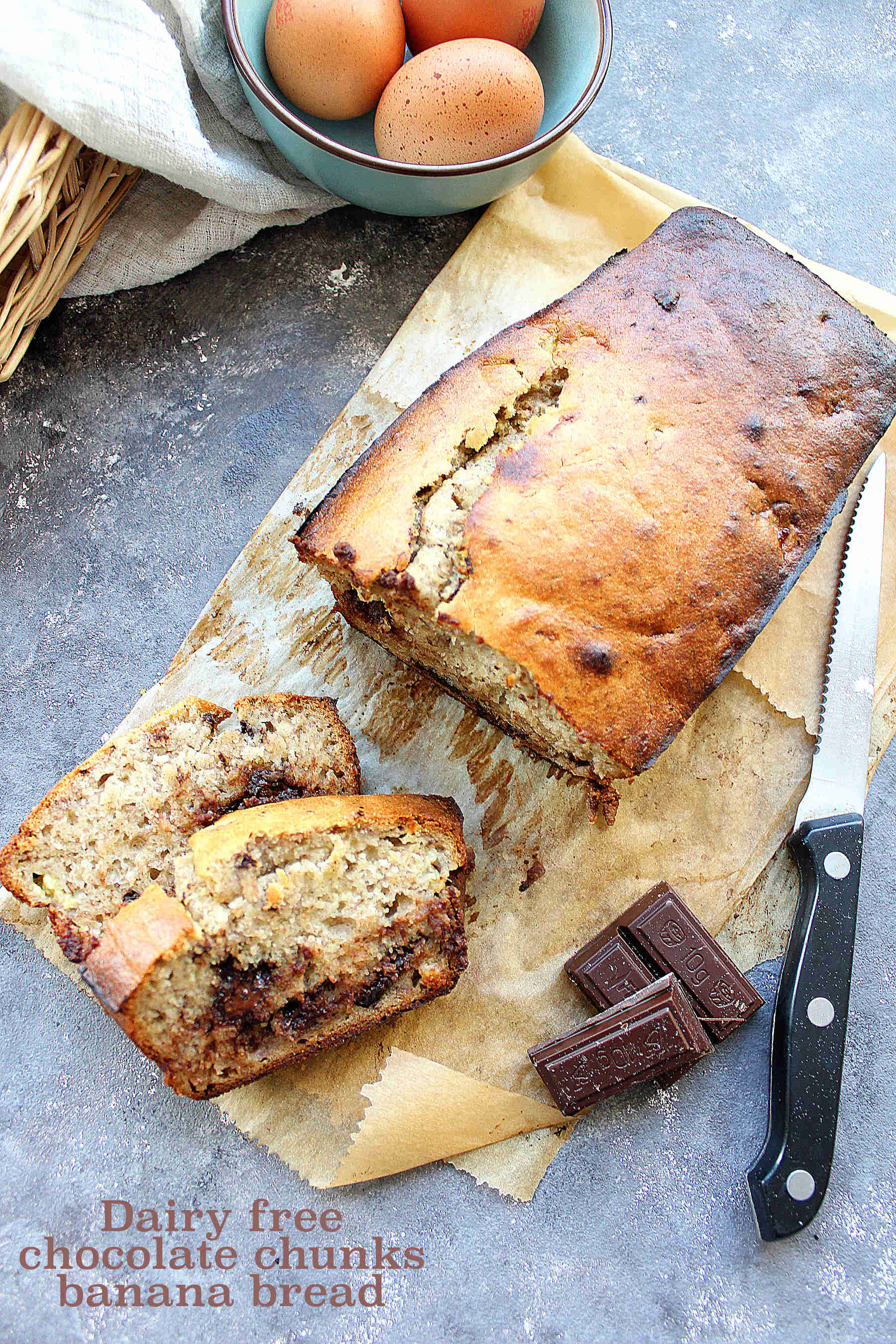 Big chocolate chunks banana bread (dairy free)