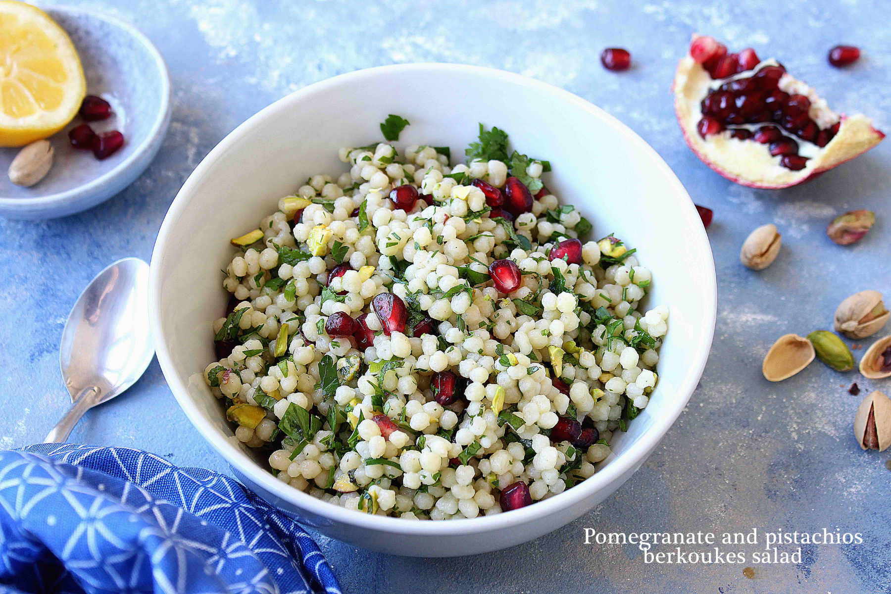 Pomegranate and pistachios pearl pasta salad