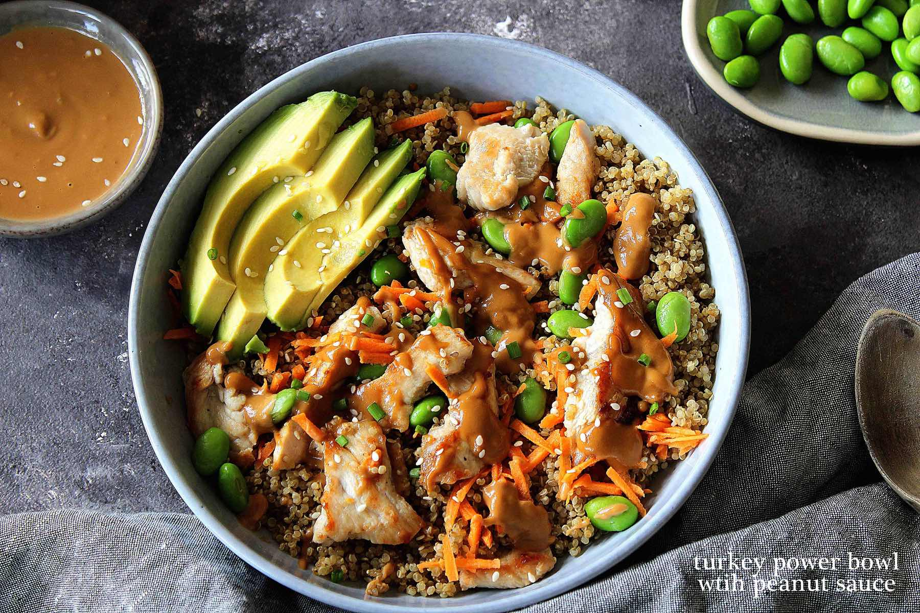 Turkey power bowl with peanut sauce