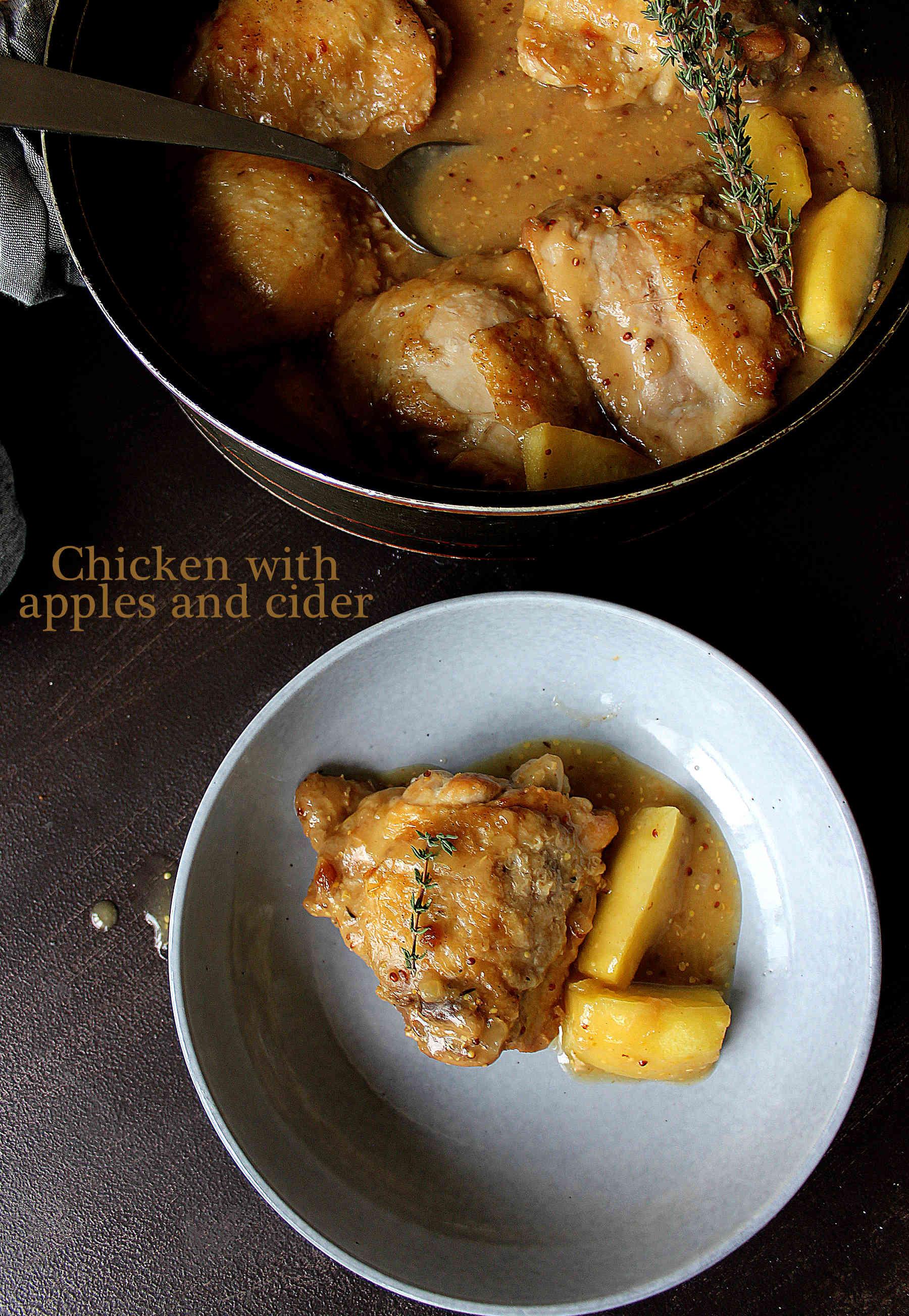 Poulet au cidre et aux pommes