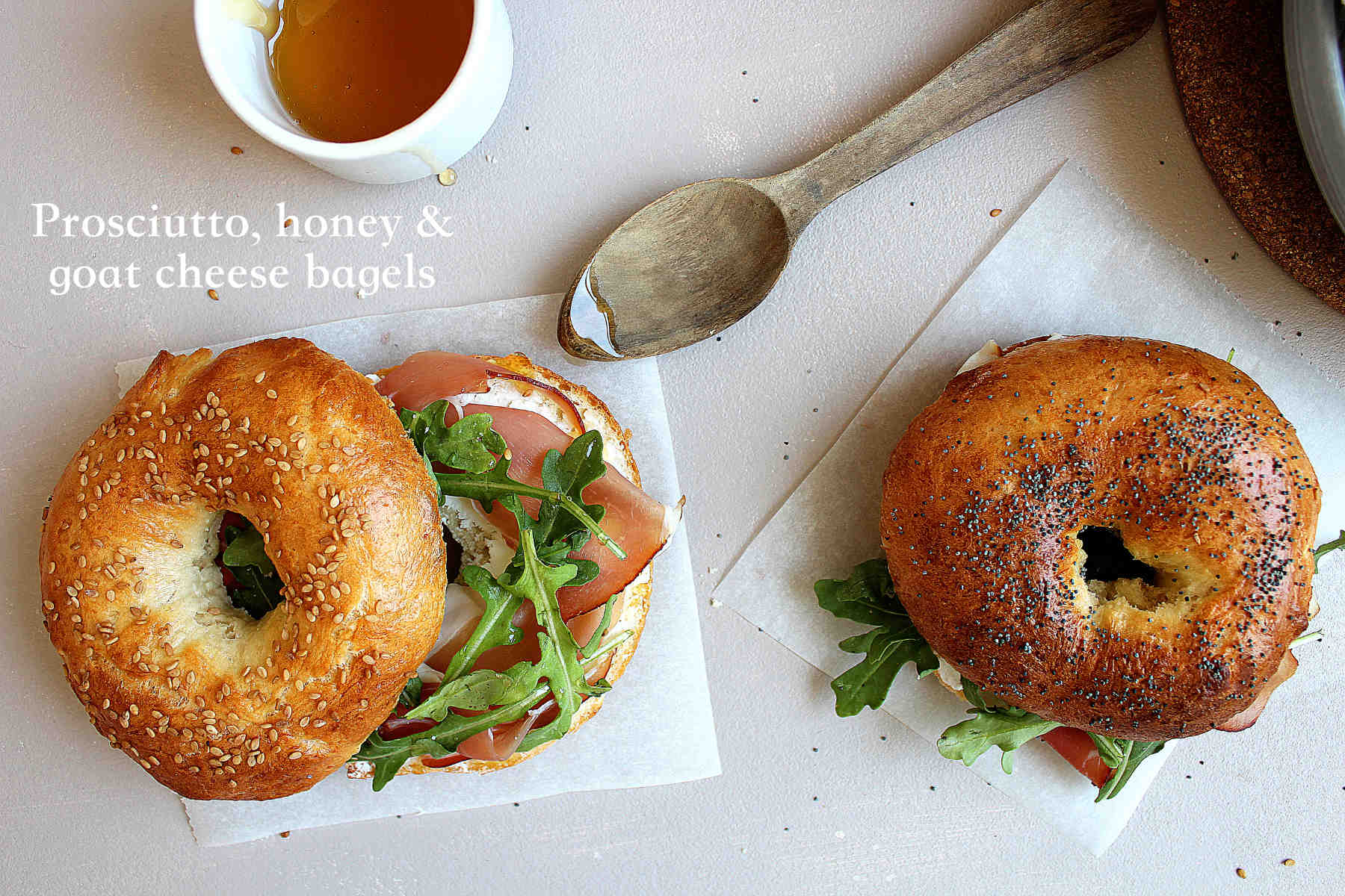 Prosciutto, honey and fresh goat cheese bagels