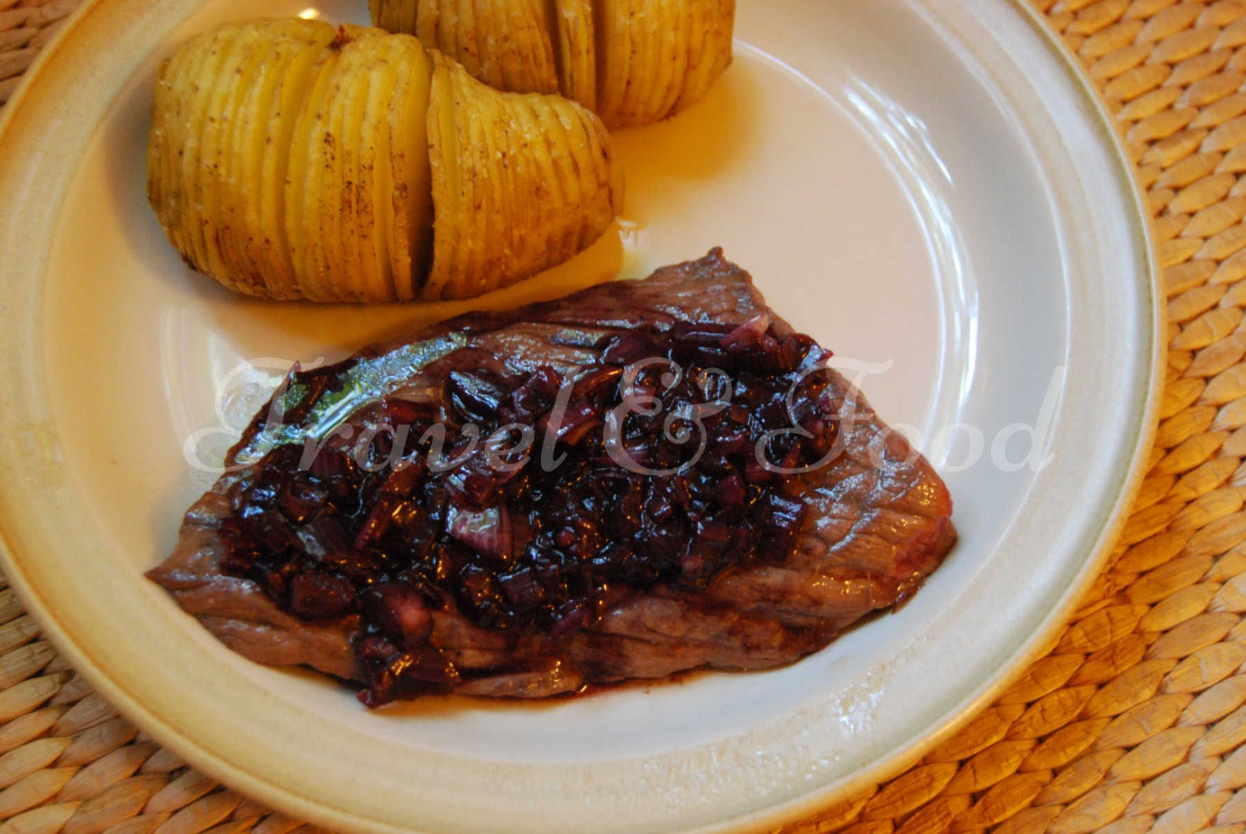 Flank steak with shallots sauce