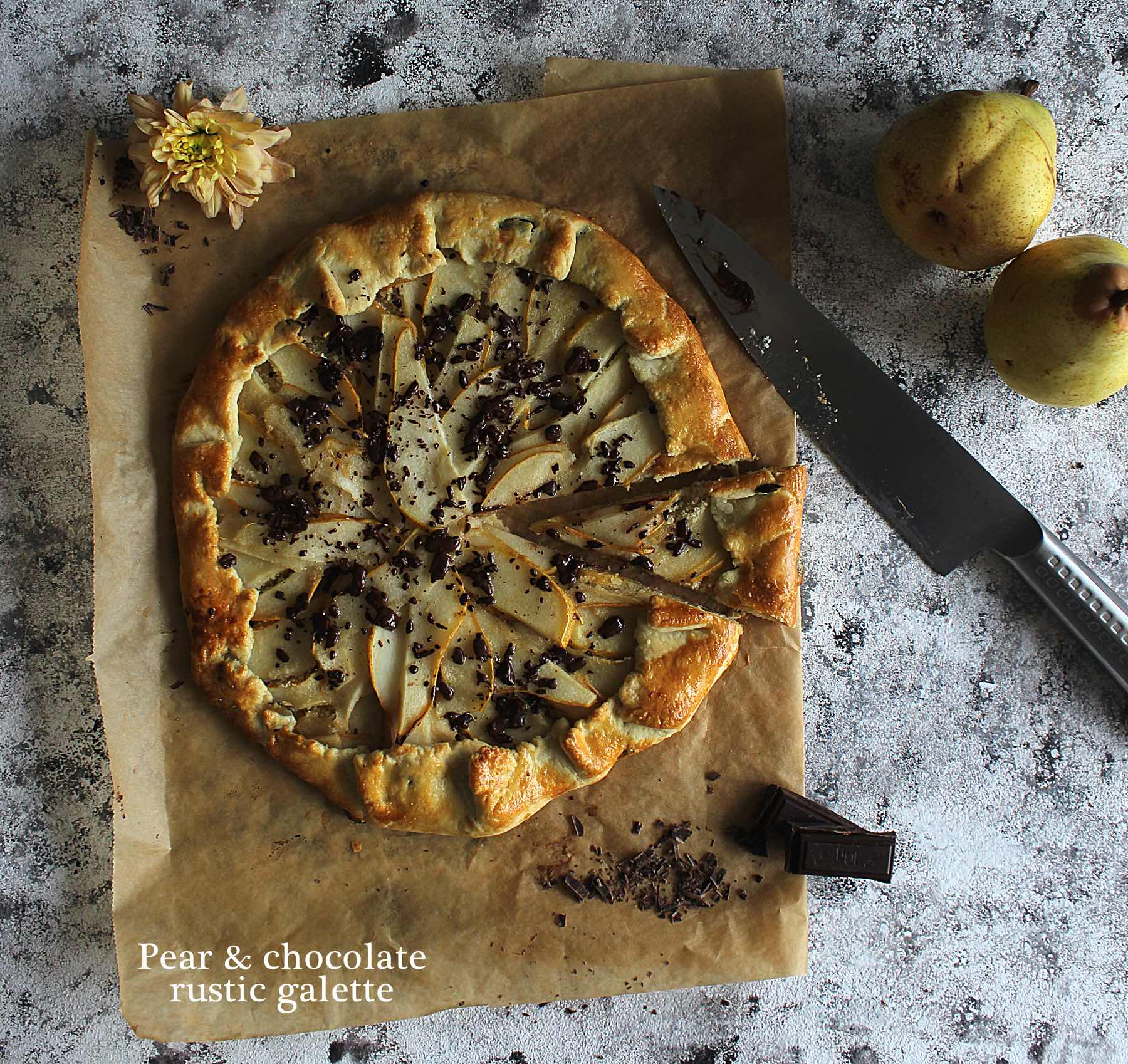 Pear & chocolate rustic galette