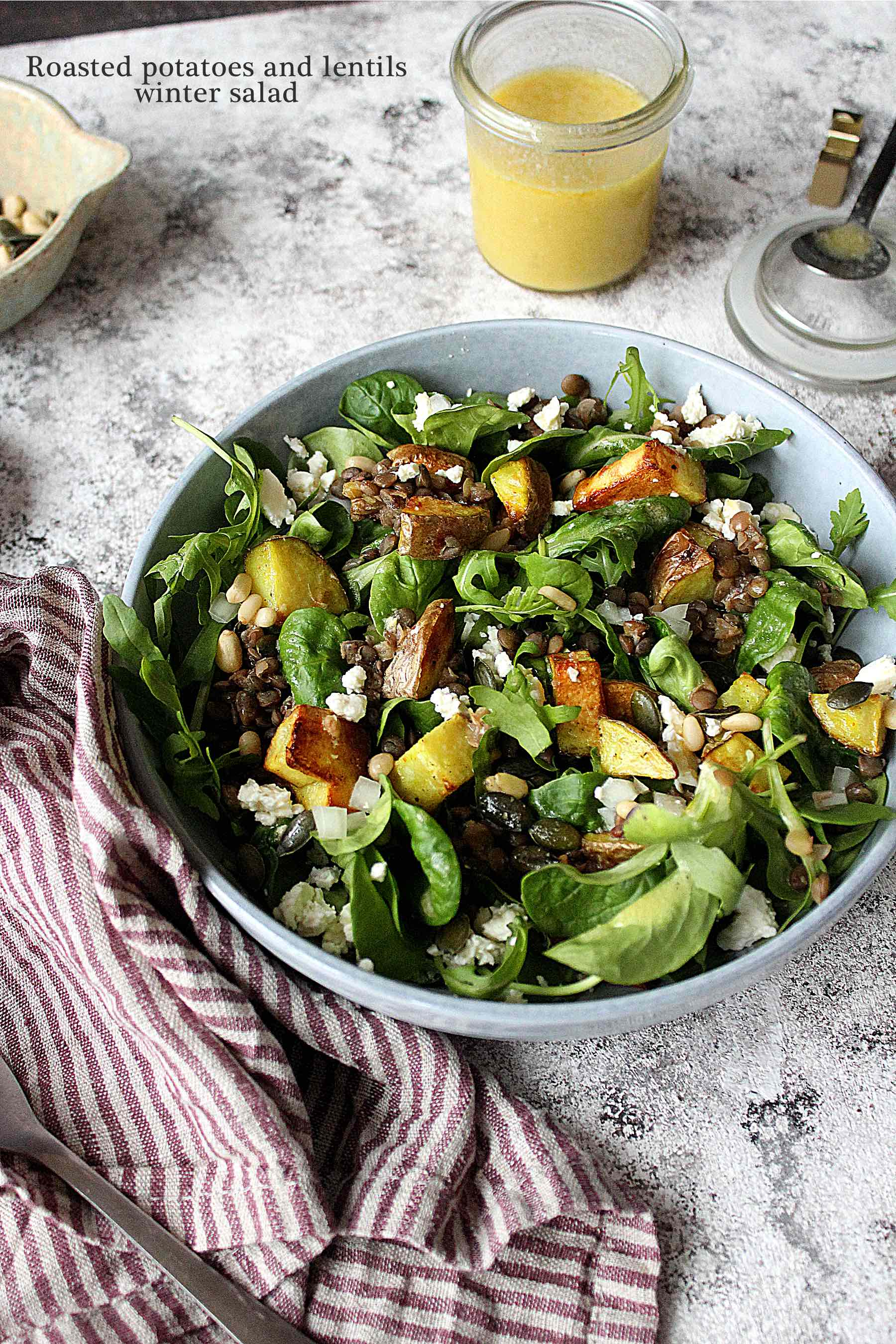 Roasted potatoes and lentils Winter salad