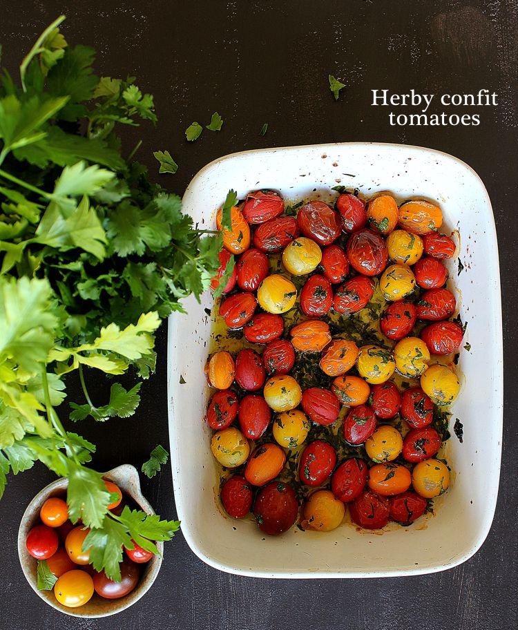 Tomates cerises confites aux herbes