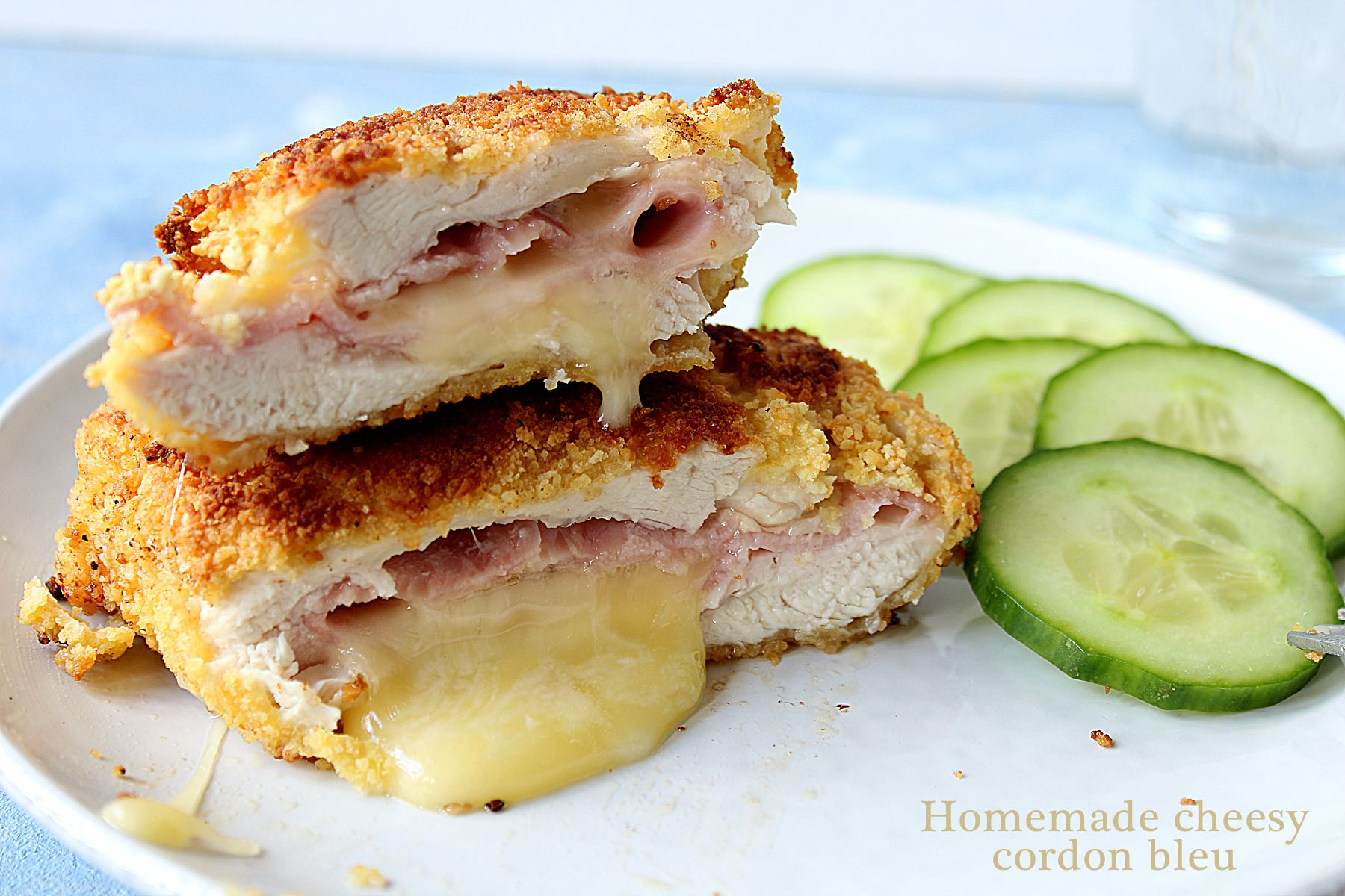 Homemade cheesy cordon bleu