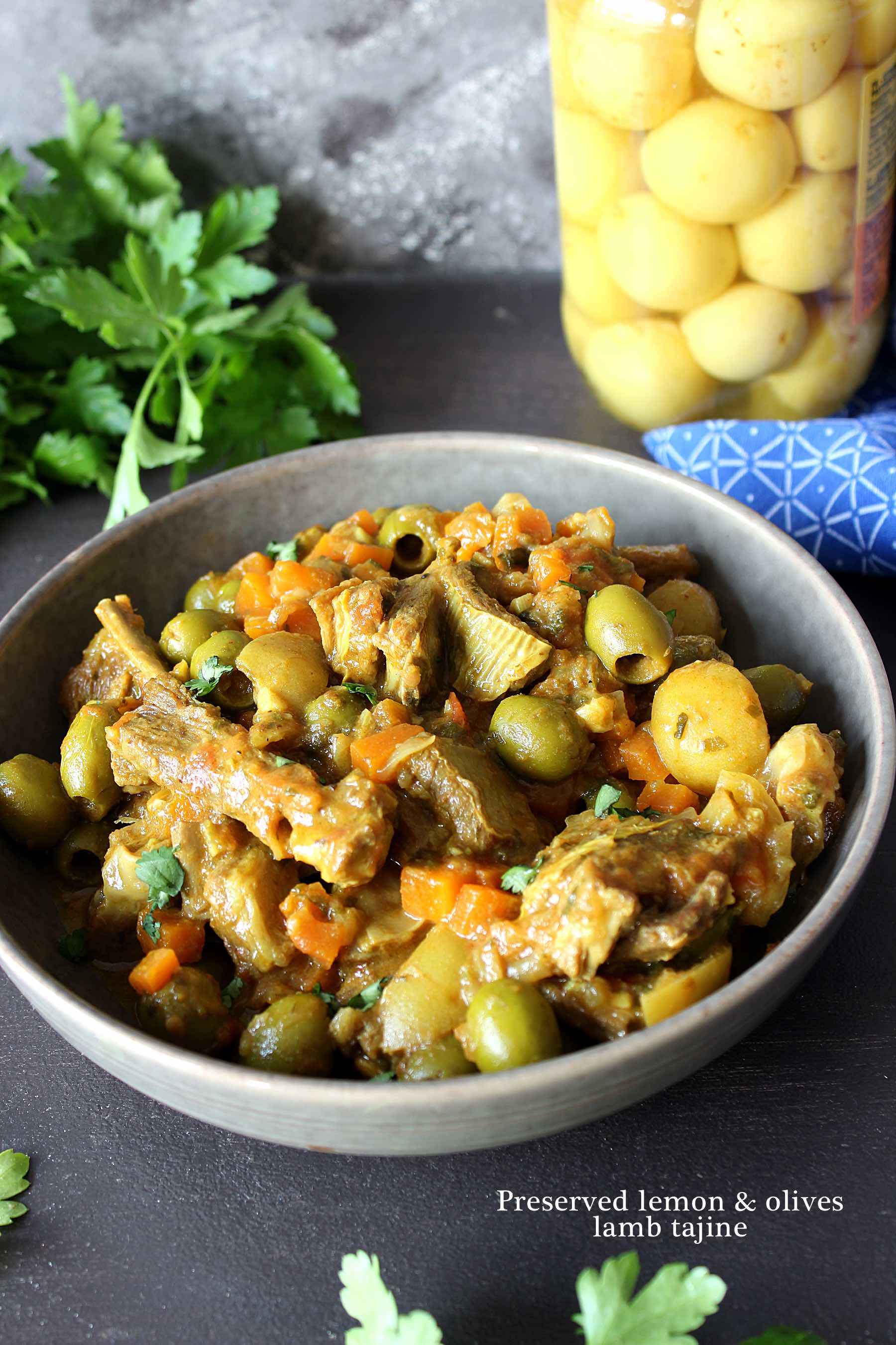 Preserved lemon and olives lamb tajine
