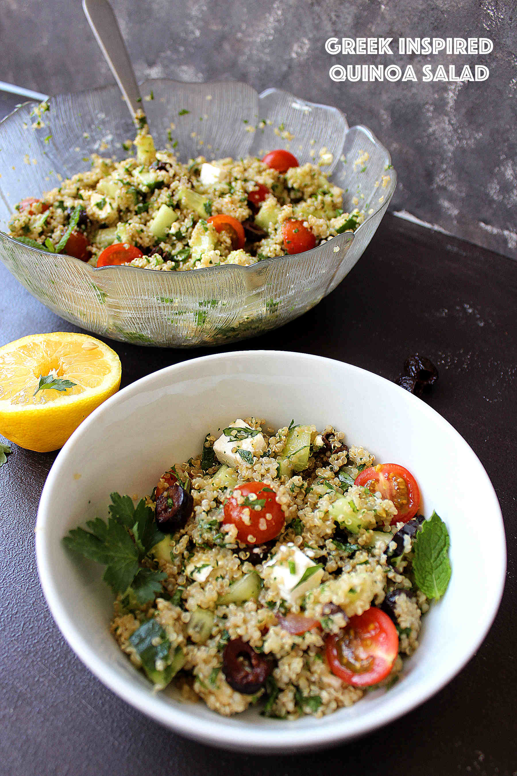 Greek inspired quinoa salad