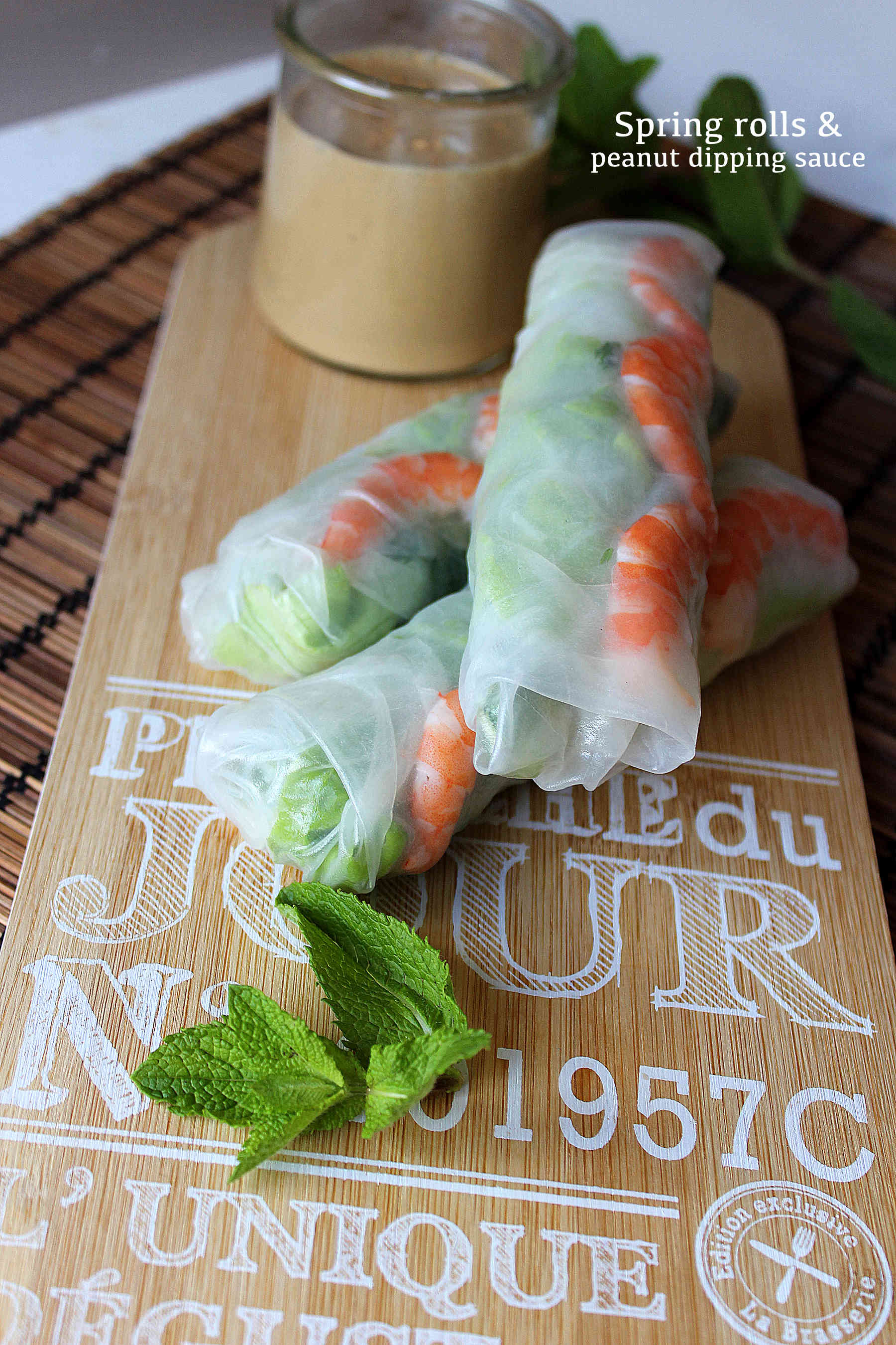 Spring rolls with peanut butter dipping sauce