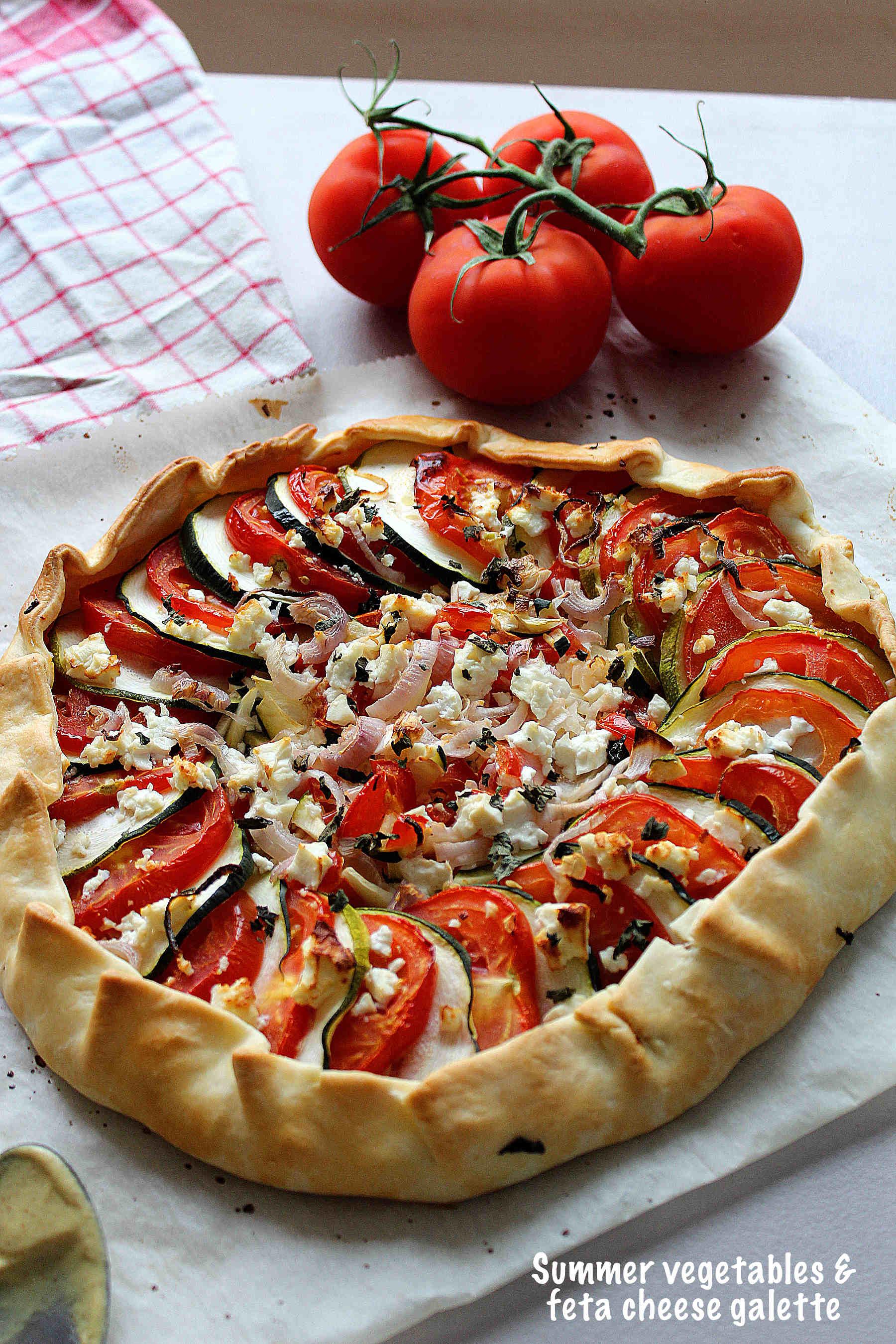 Tomato, zucchini and feta cheese galette