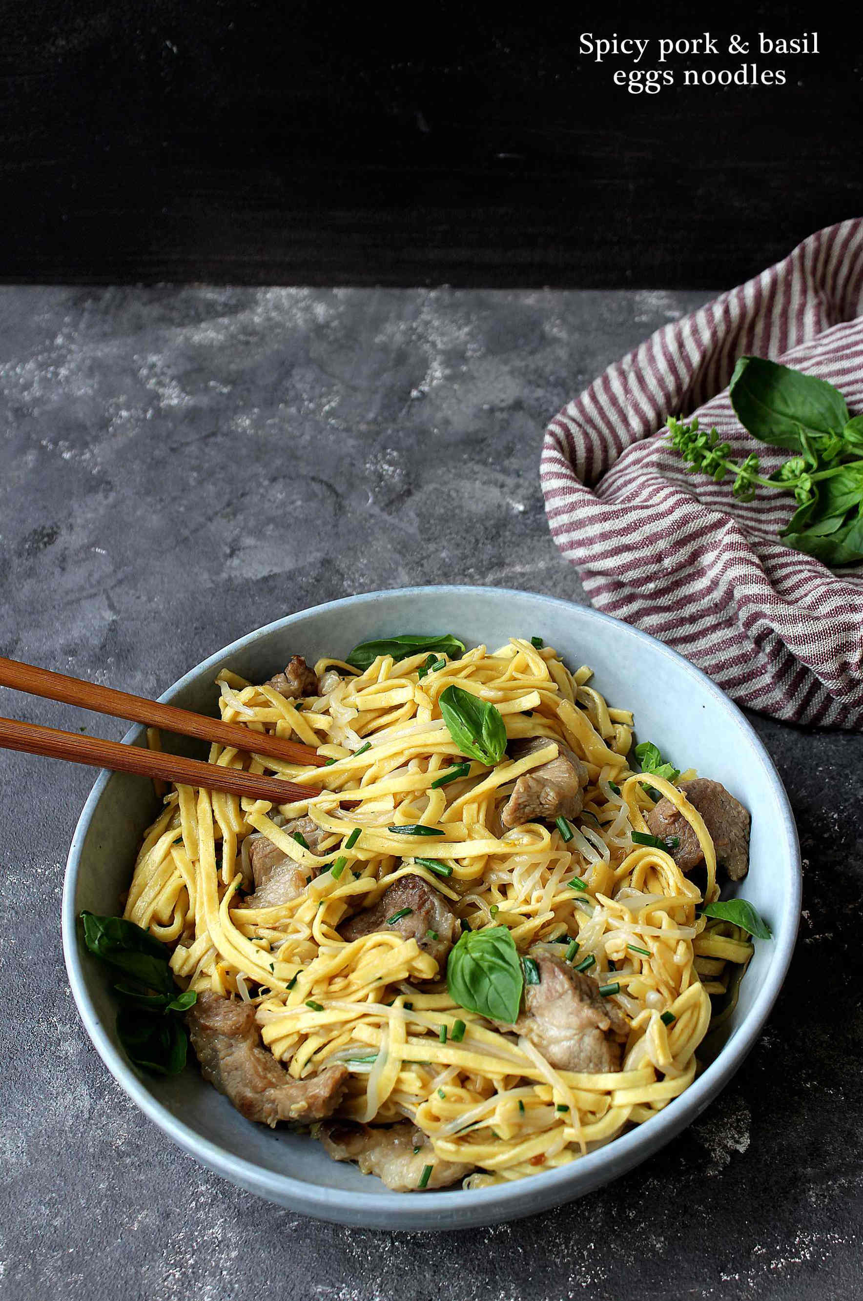 Spicy pork and basil egg noodles