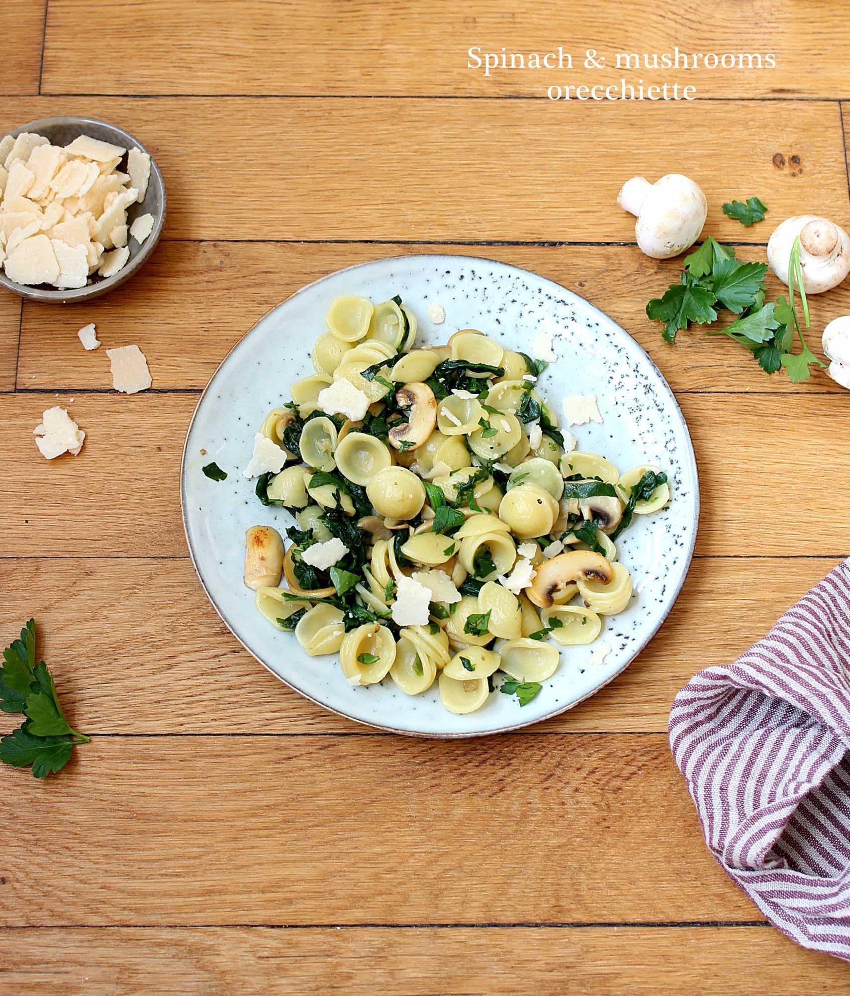 Mushroom & spinach orecchiette