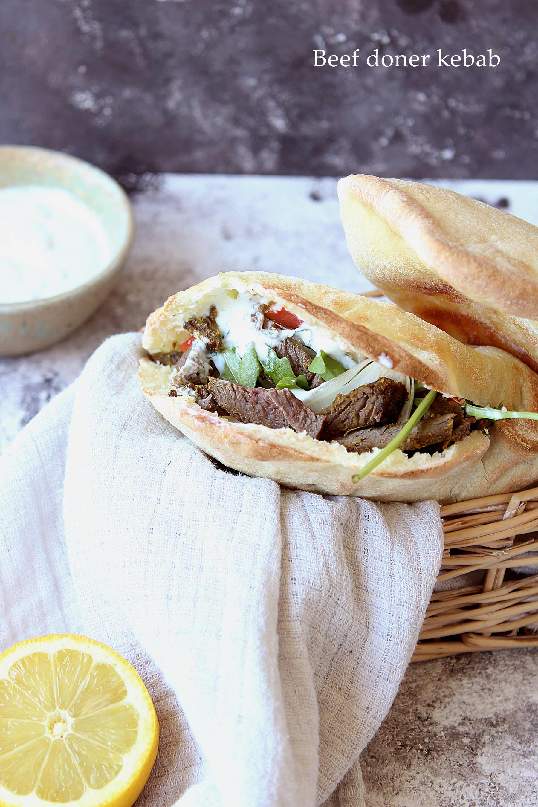 Homemade beef doner kebab