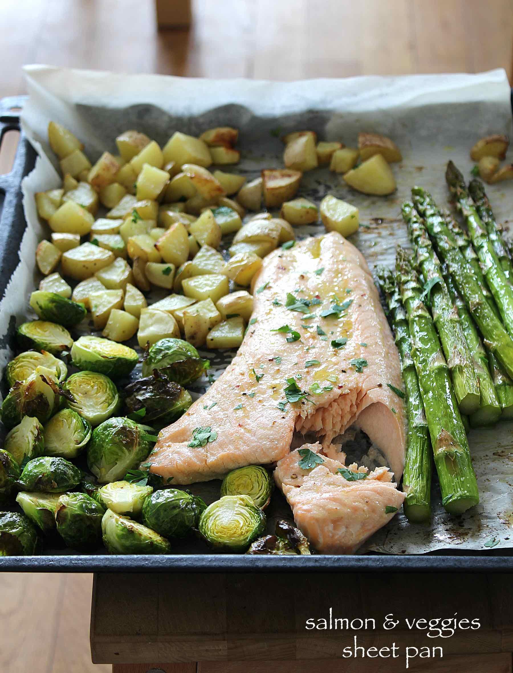 Sheet pan salmon and roasted veggies
