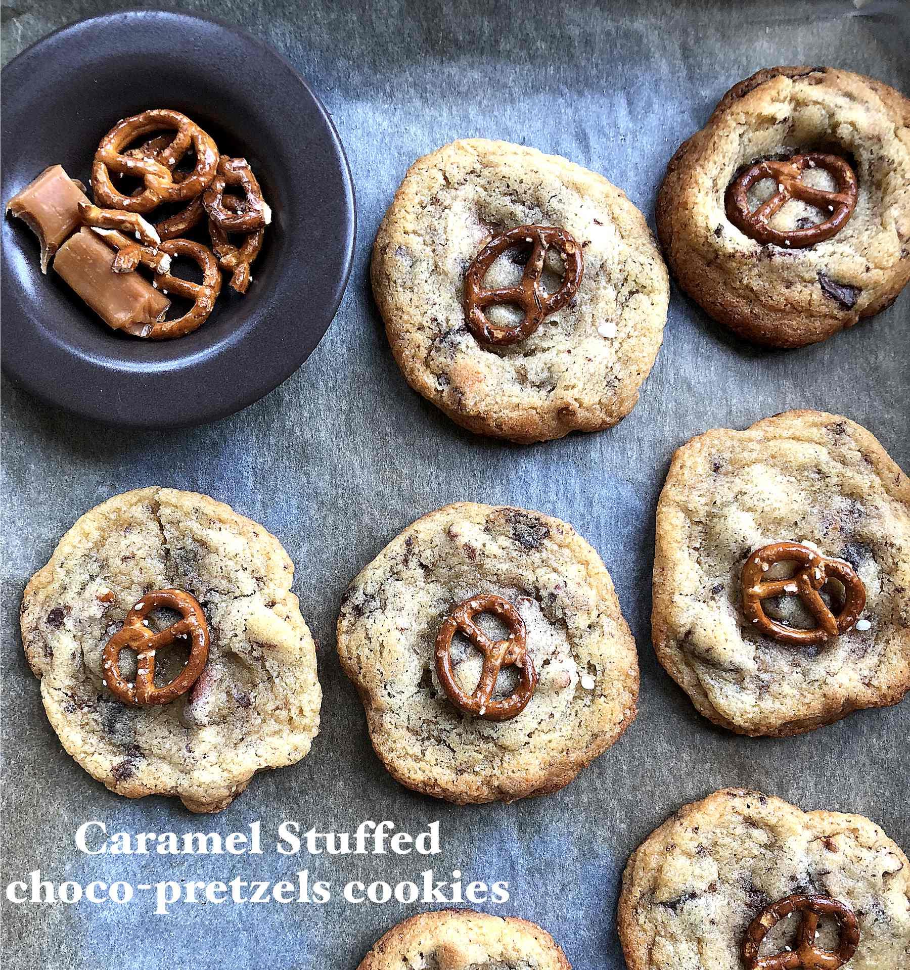 Cookies choco-bretzel avec coeur caramel
