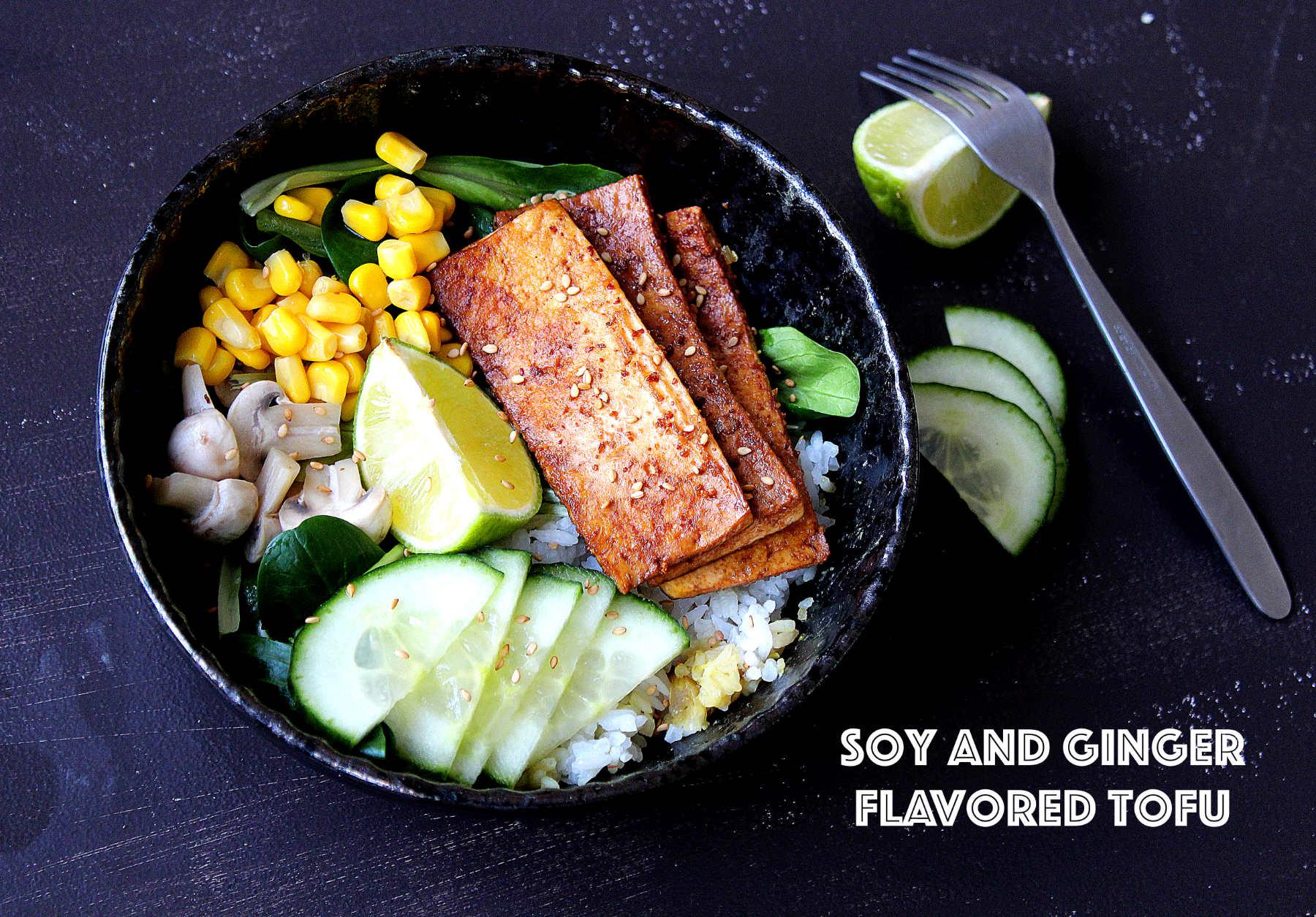 Tofu grillé aux soja et gingembre + bol complet pour repas rapide (vegan)
