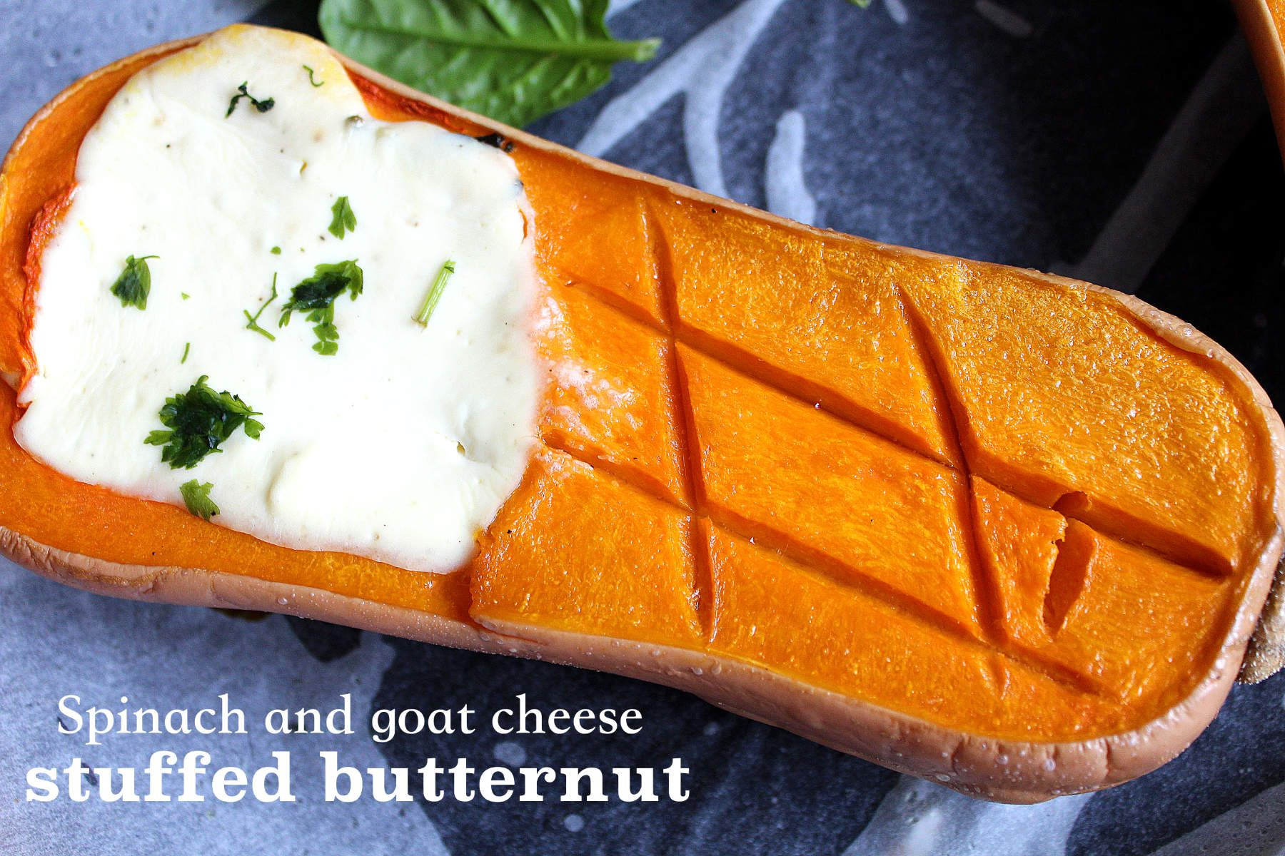 Spinach and goat cheese stuffed butternut squash