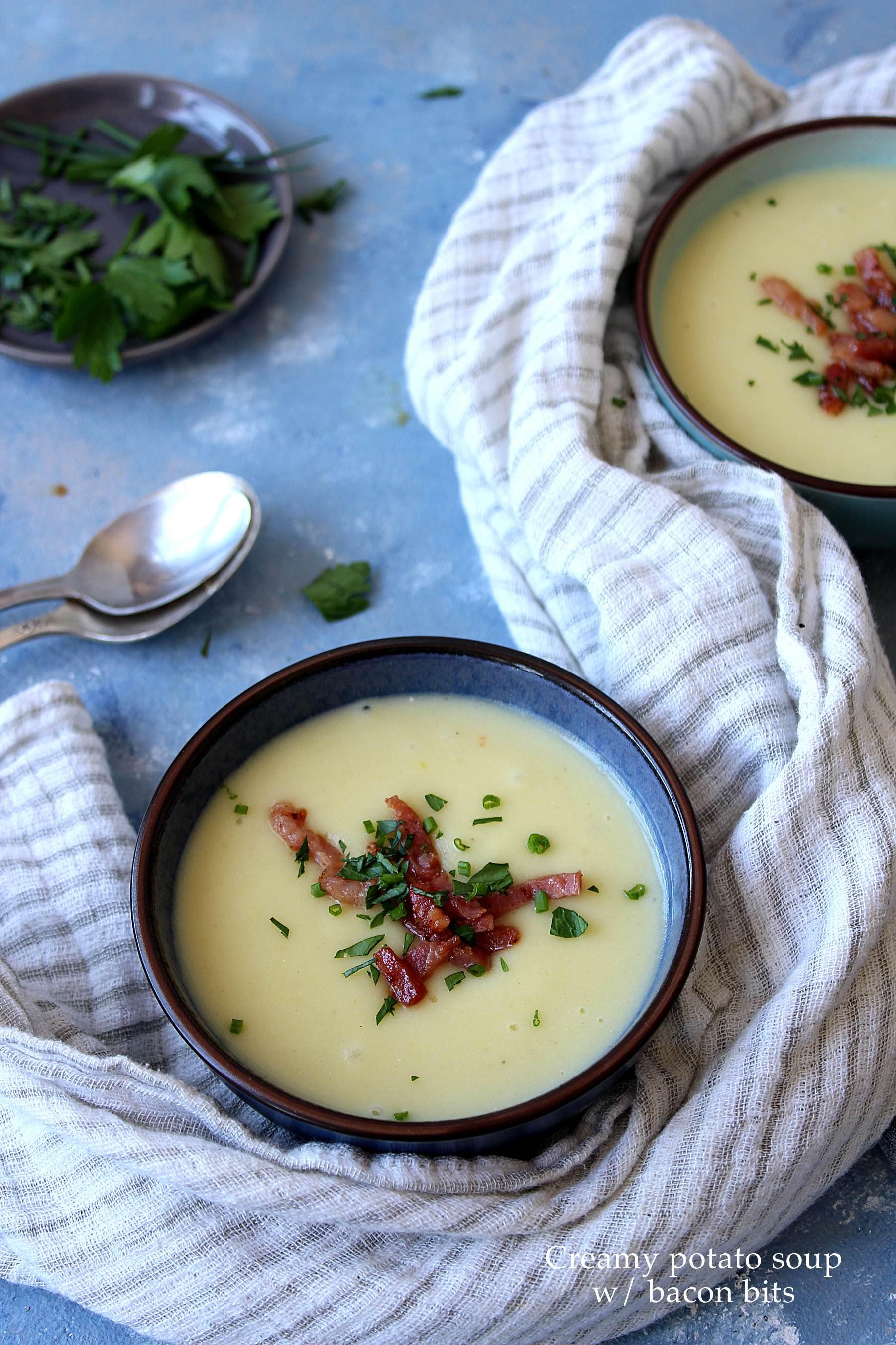 Soupe crémeuse de pommes de terre aux lardons