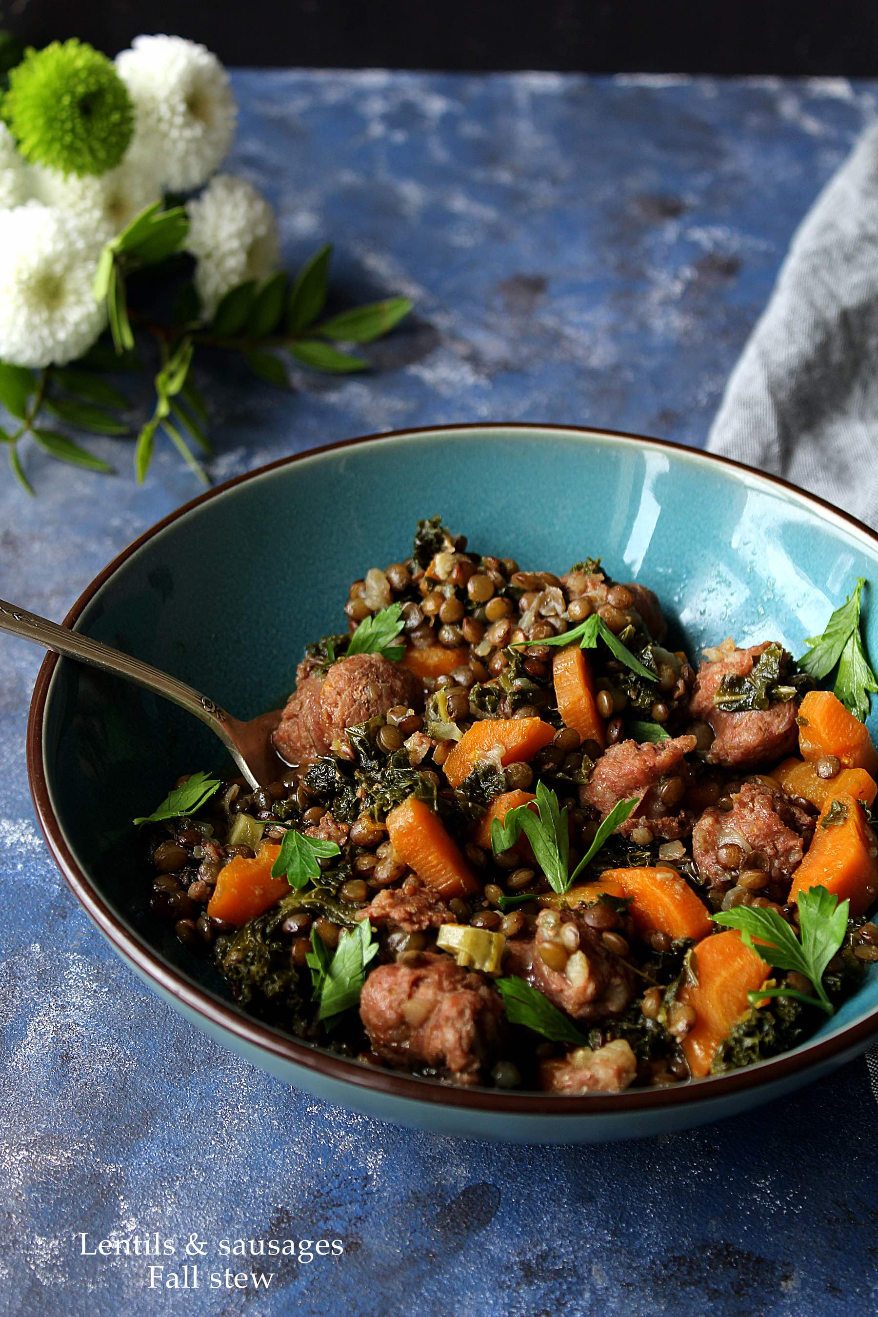 Lentils & sausages Fall stew