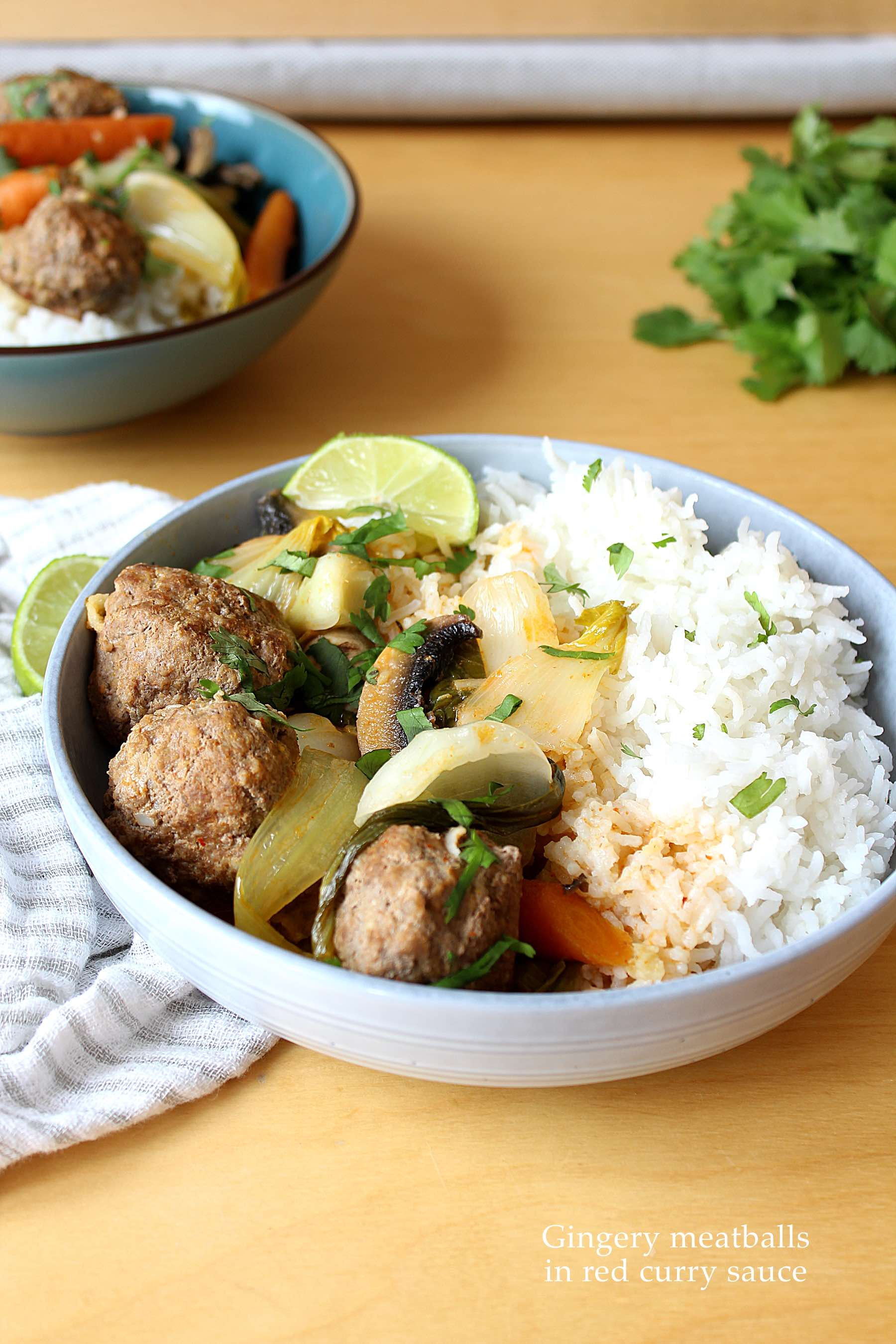 Gingery meatballs in red curry sauce