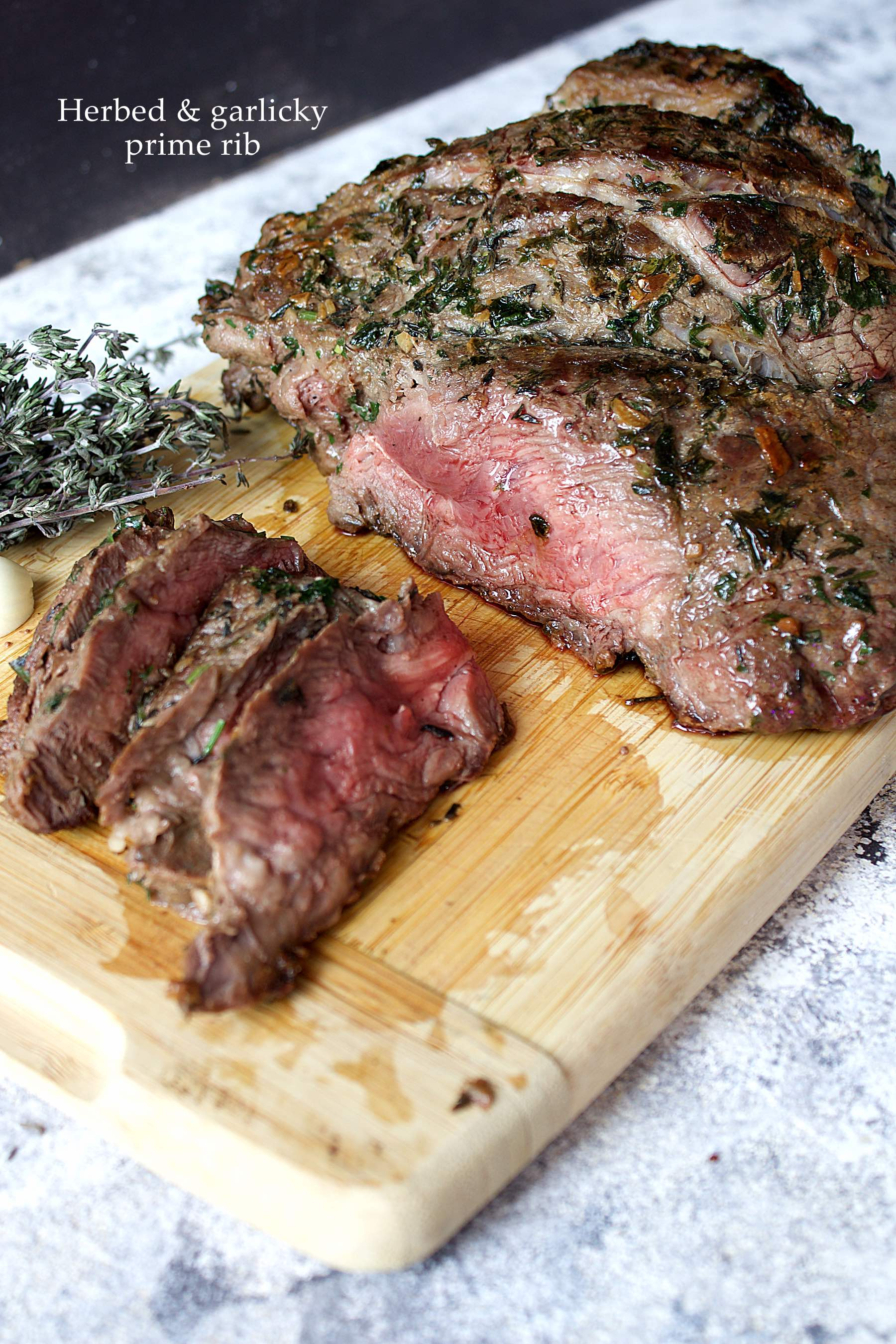Herby and garlicky prime rib