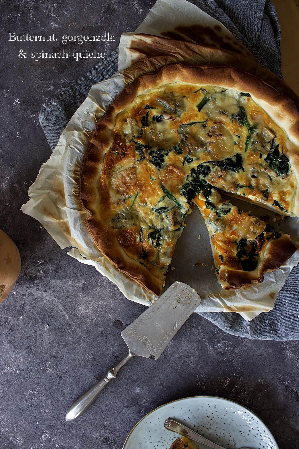 Quiche à la butternut, épinards et gorgonzola
