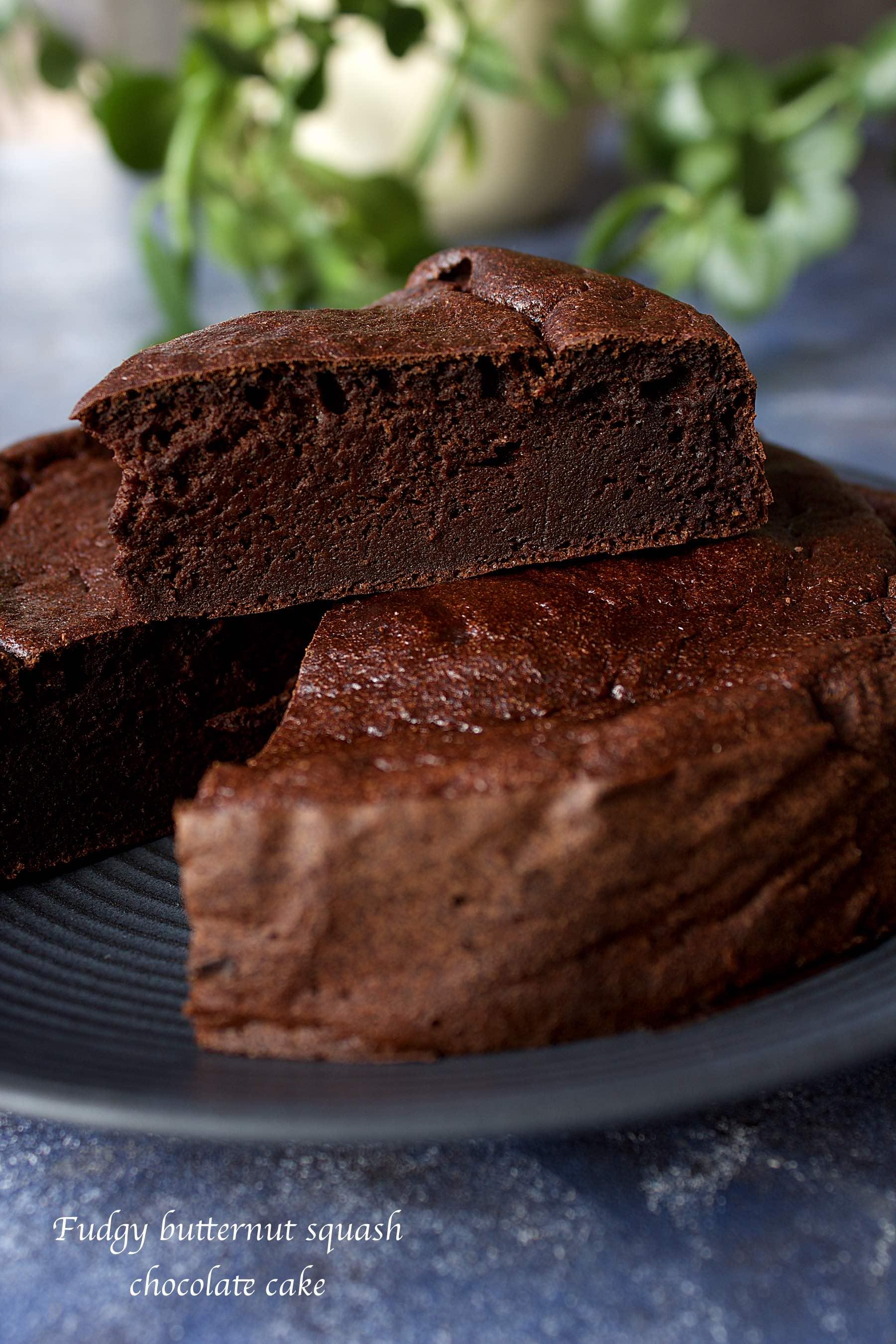 Fudgy butternut squash chocolate cake