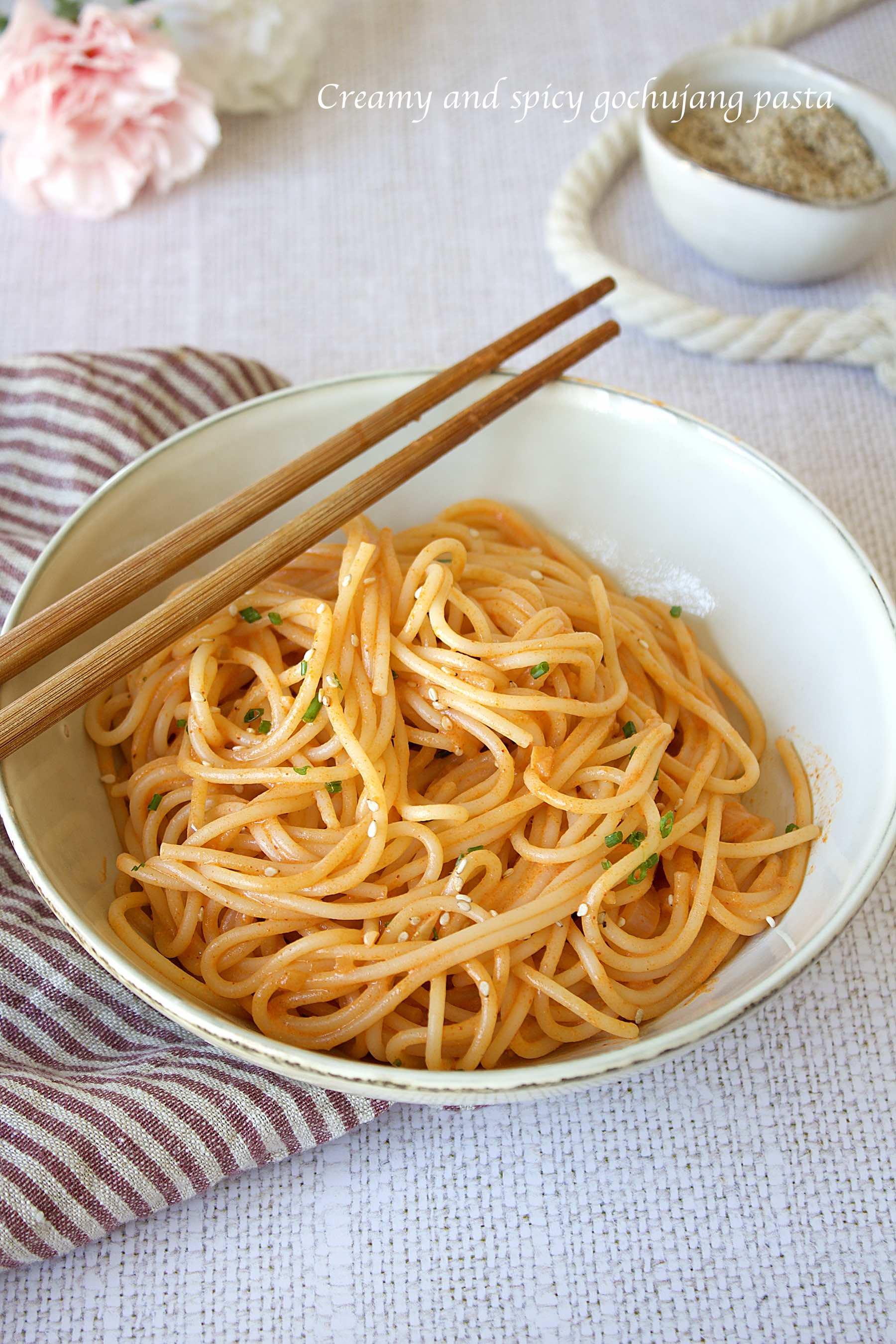 Spaghetti crémeux au gochujang
