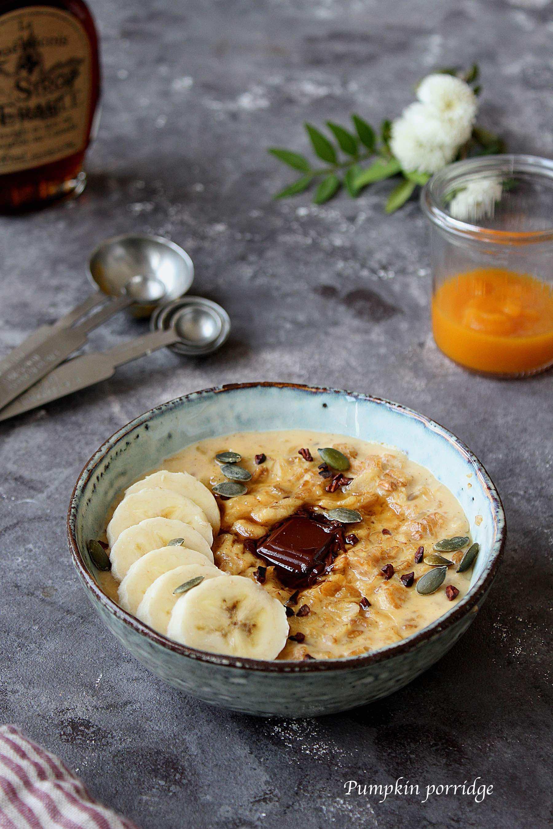 Porridge à la courge et au sirop d'érable